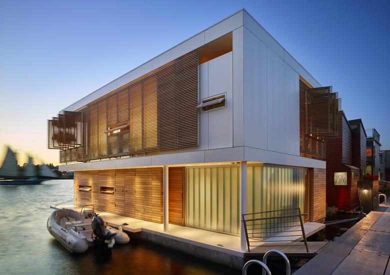 Casa Flotante Moderna en el lago Unión, Seattle.