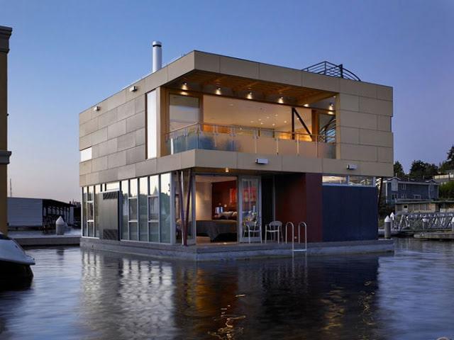 Fachada de casas flotantes moderna.