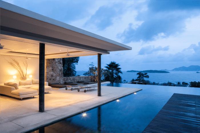 Casa de playa de un nivel.