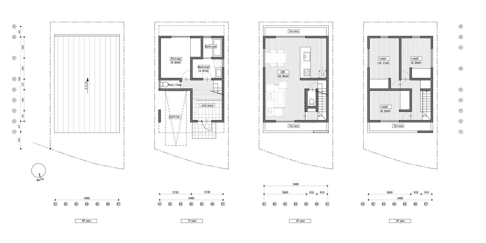 Plantas arquitectónicas de la casa Números en Japón.