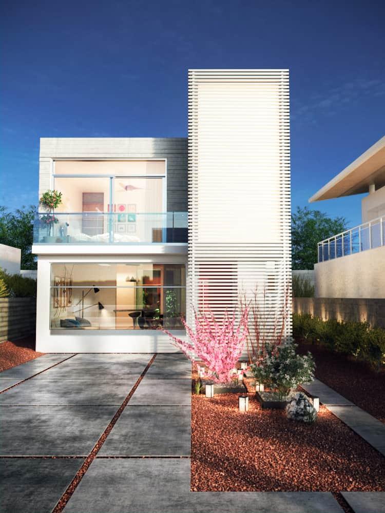 fachadas de casas modernas de dos pisos.