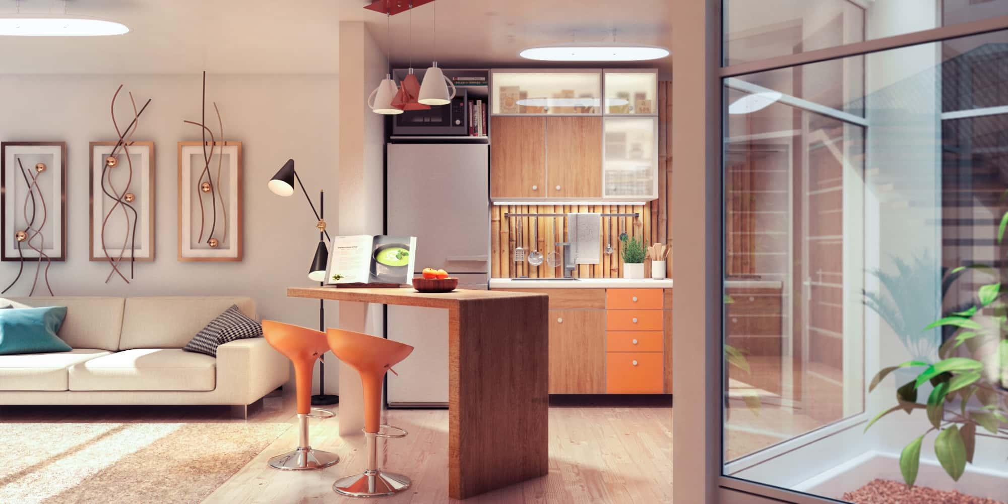 Cocina y sala de casa de dos niveles.