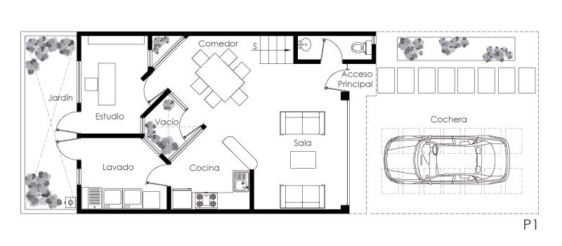 Casa De Dos Niveles Pequeña Y Moderna De Estilo Minimalista