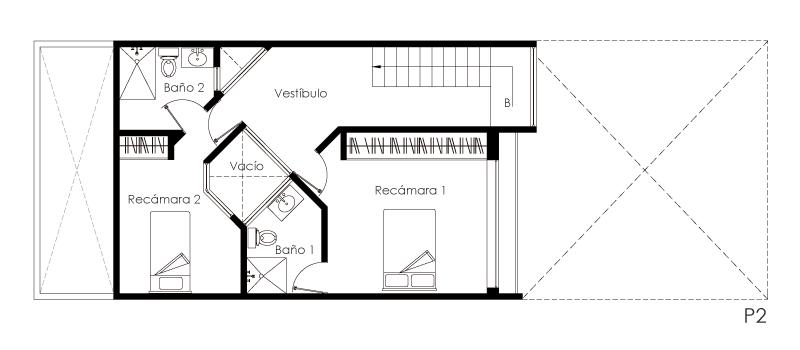 Planos de casas de dos pisos pequeñas.