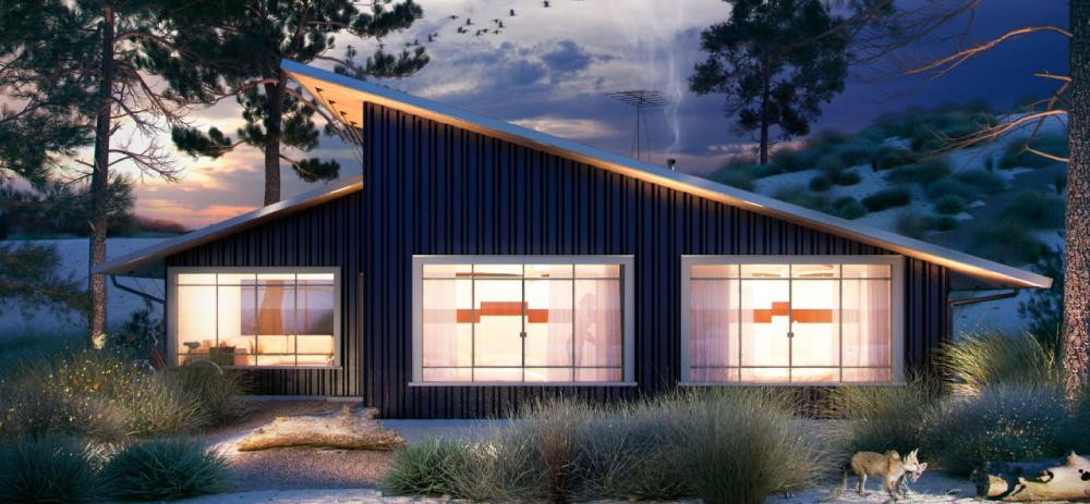 Render nocturno de fachada de casa